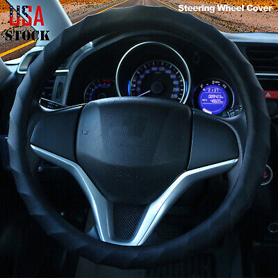 "15"" 16"" Car Steering Wheel Cover Protector Universal Anti-Slip Silicone Black"