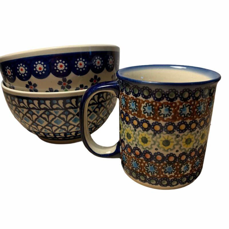 Two Boleslawiec Polish Pottery Soup / Cereal Bowls and One Signed Unikat Mug