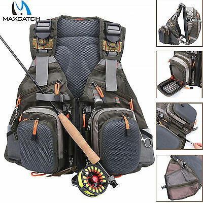 Maxcatch Multi-pocket Fly Fishing Vest Backpack Chest Mesh Bag Adjustable Size