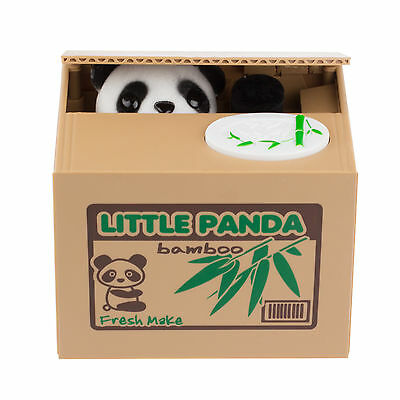 Cute Stealing Black & White Panda Coin Money Box Piggy Storage Saving Bank Gift