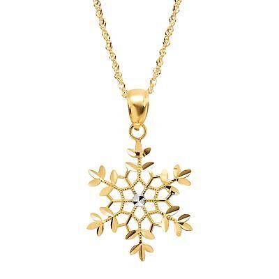 Rhodium Snowflake Pendant - Eternity Gold Two-Tone Snowflake Pendant in 14K Gold with Rhodium Plating