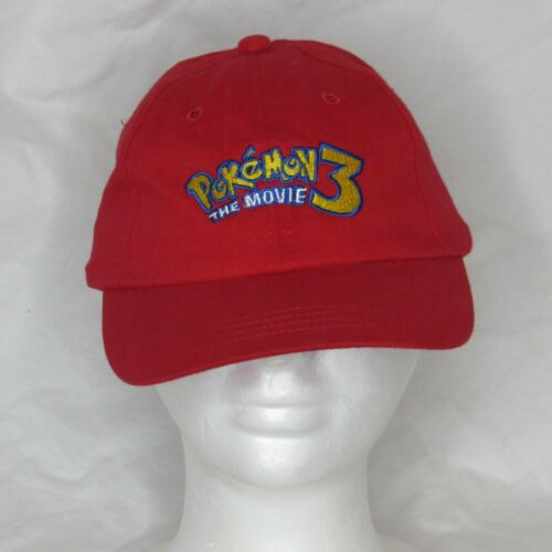 Vintage Pokemon 3 The Movie One Size Youth Cap Hat Red Elastic Back 2001