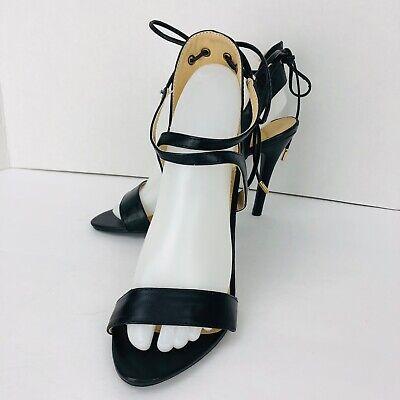 YOKI Black Heel Sandal Ankle Strap Tie Back Stiletto Slate Size 7.5 M  Stiletto Heel Ankle Tie