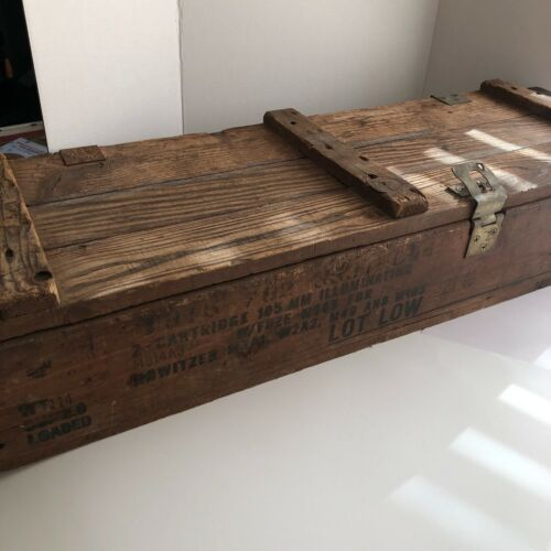 MILITARY Wooden AMMO Crate Box AMMUNITION for CANNON HOWITZER EXPLOSIVES
