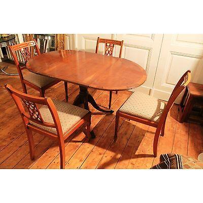 Antik Alt Esszimmer Tisch Tafel Gruppe 4 Stühle Ausziehbar Biedermeier Old Rare