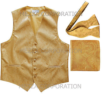 New Men's gold vest Tuxedo Waistcoat self tie bow tie and hankie set party prom - Gold Tux