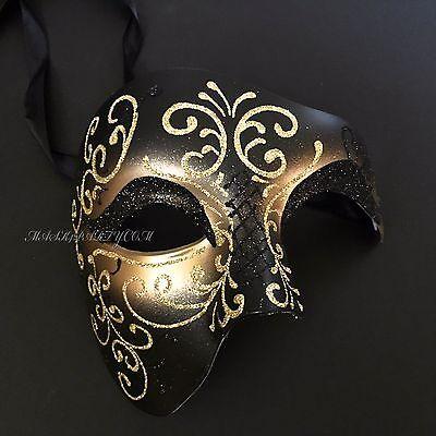Venetian Fantasy Glitter Drawing Male Masquerade Black Gold Mask