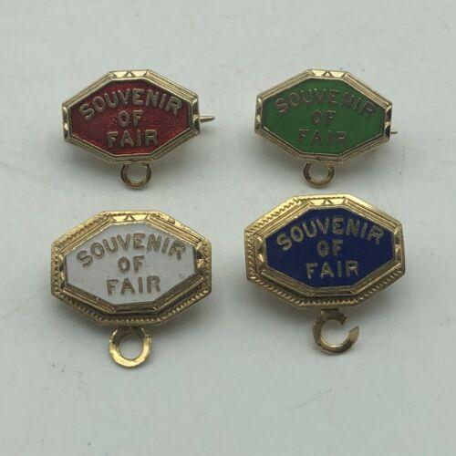 Vtg Lot 4 Souvenir Of Fair Gold Tone Red Blue Green White Enamel Lapel Pin  A6