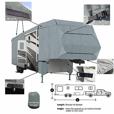 Deluxe 4-Layer 5th Wheel RV Motorhome Cover Fits 29'- 33' L Extra Tall