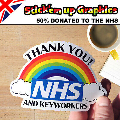 THANK YOU ❤ NHS RAINBOW Car Sticker, 50% DONATION TO NHS