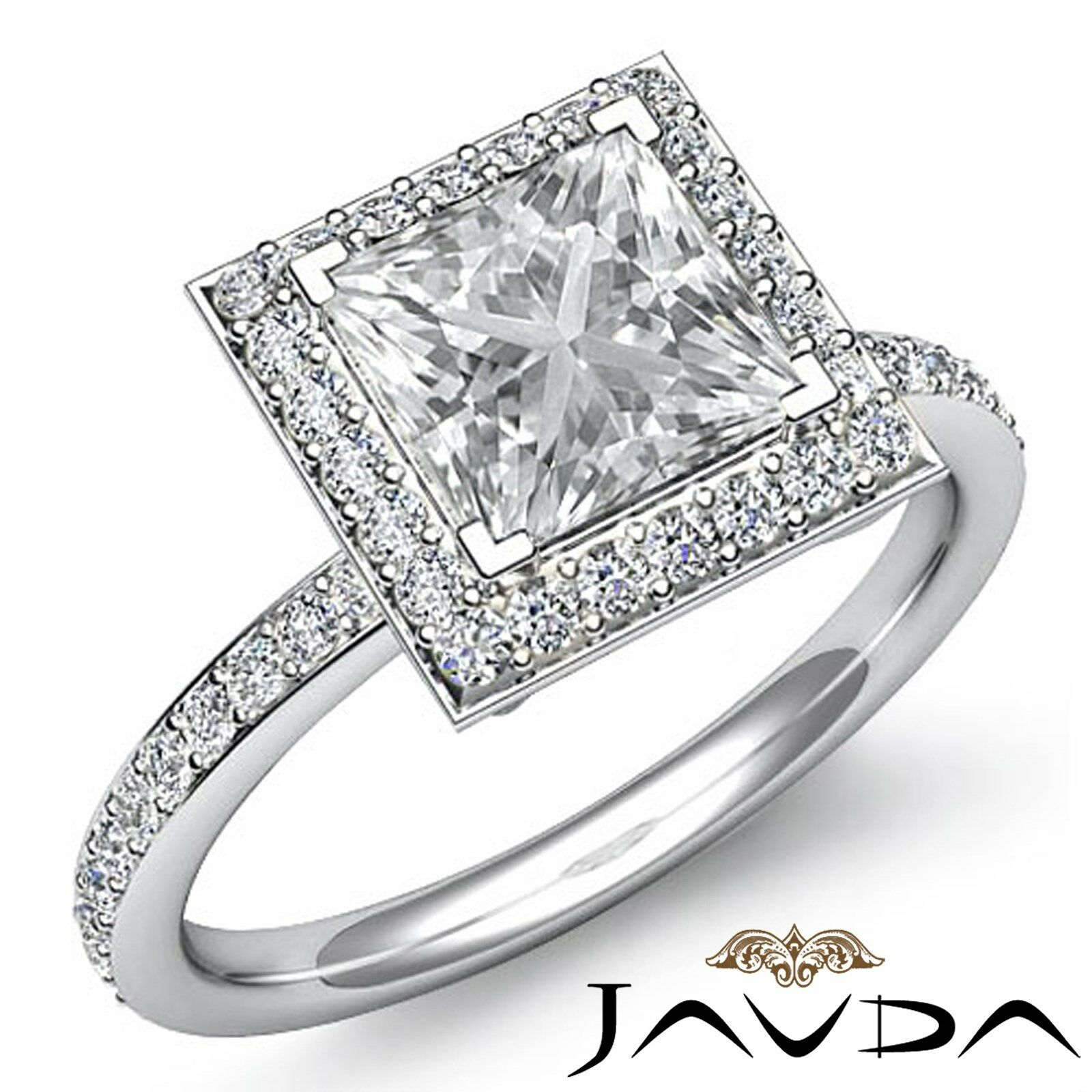 Halo Pave Set Princess Cut Diamond Engagement Ring GIA G Color VS1 Clarity 2.5Ct