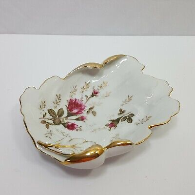 Oftriart Porcelain Moss Rose Pattern Gold Trim Ashtray Jewelry Dish Leaf Shaped