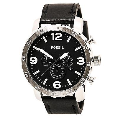 Fossil JR1436 Men's Nate Chrono Black Dial Black Leather Strap Watch Watch (Fossil Watchs Nate)