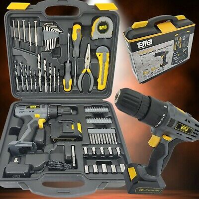 12V Household Lithium Battery Cordless Drill Driver Power Drill with 77 Pieces