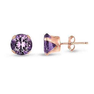 Gold Genuine Amethyst Earring - Genuine Round Purple Amethyst Rose Gold Plated Silver Stud Earrings - February