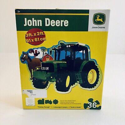 John Deere Floor Puzzle Tractor 36 Pieces 3' x 2' Feet Special Farm Shape Pieces