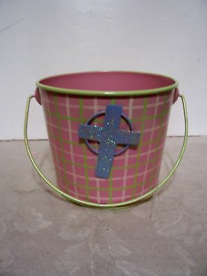 PINK PLAID METAL EASTER BUNNY BUCKET DECORATION SPRING - Metal Easter Buckets