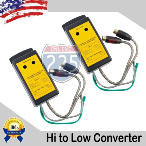 2x High to Low Output Converter Gain Control 2-Channel Speaker Wire to Gold RCA