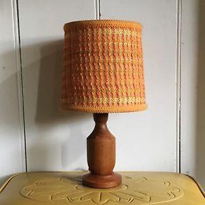 Tiny teak vintage lamp great shade