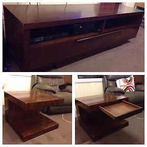 Entertainment unit and 2 x lamp tables Rosebery West Coast Area Preview