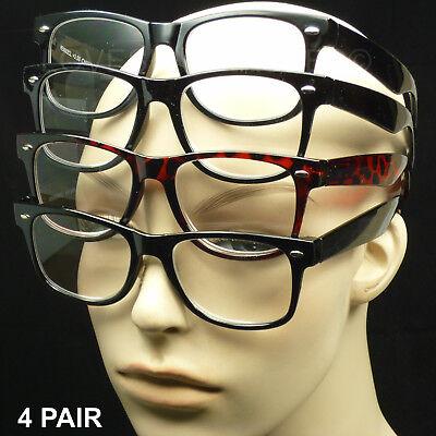 4 PAIR LOT READING GLASSES LENS  NEW SPRING HINGE MEN WOMEN PACK POWER