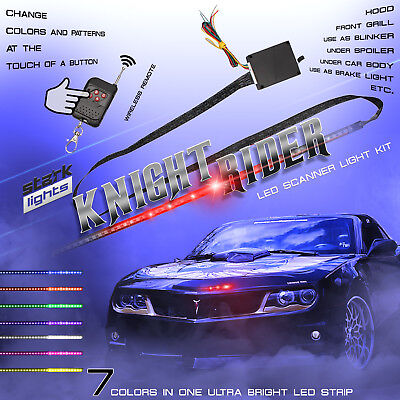 - 48 LED RGB Knight Rider Scanner Flash Car Strobe 7 Color Light Kit Strip 22 Inch