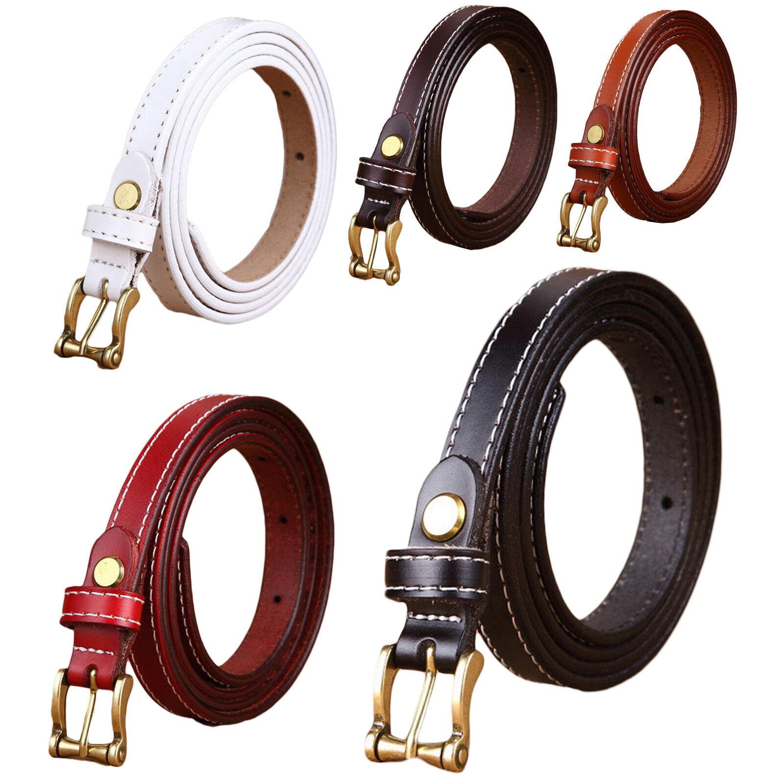Women's Classic Metal Buckle Handcrafted Genuine Leather Skinny Belt Belts
