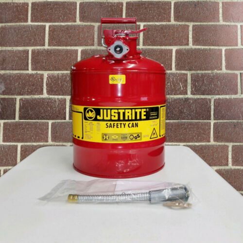 "Justrite 7250120 5-Gallon Type II Safety Can with 5/8"" Flexible Hose"