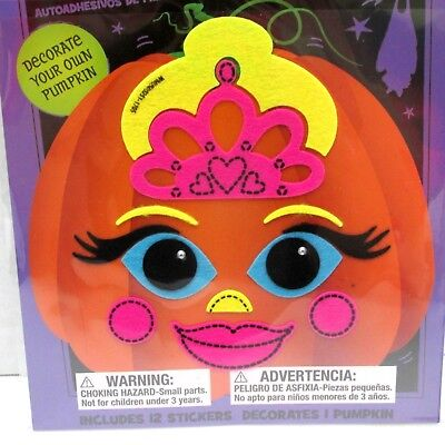 Halloween Felt Pumpkin Stickers Princess Adhesive DIY Easy Kids Craft NEW