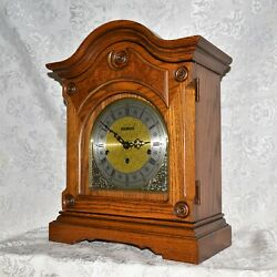 LARGE HOWARD MILLER TRIPLE CHIME / WESTMINSTER CHIME OAK MANTEL CLOCK. SERVICED