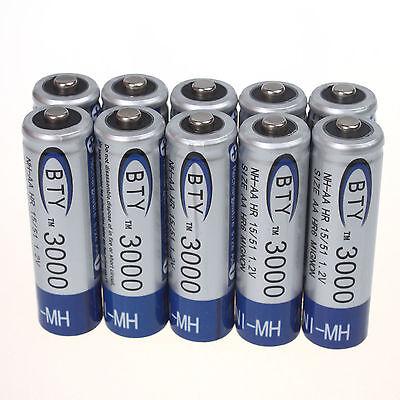 10 Aa Nimh Rechargable Batteries - 10pcs AA 1.2V Volt Ni-MH 3000mAh Rechargeable Battery RC Toys Camera #US Stock