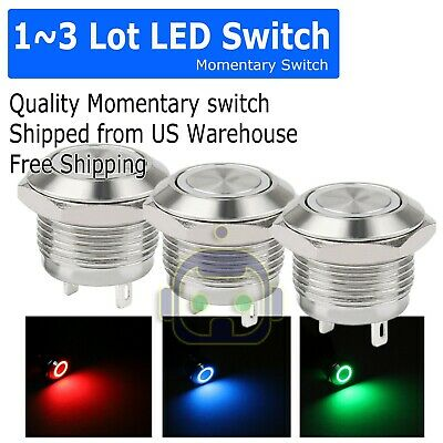 13pcs Led Metal Momentary Push Button Switch 4pin 12mm 4.512v Redgreenblue