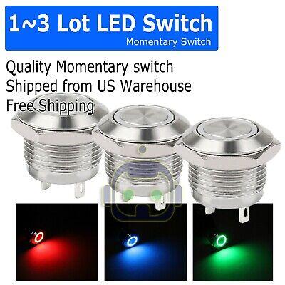 1~3PCS LED Metal Momentary Push Button Switch 4Pin 12mm 4.5~12V (Cherry Peg)