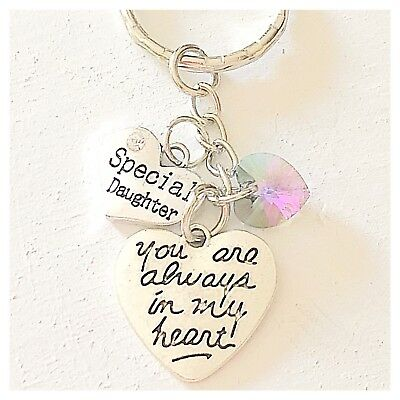 Special Daughter You Are Always In My Heart Keychain Gift Accessories Charm ()