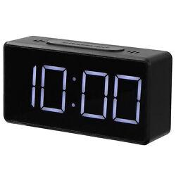 Electric Digital LED Alarm Clock Snooze Table USB Clock Temperature Thermometer