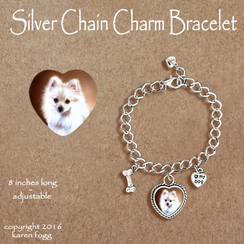 POMERANIAN DOG White POM - CHARM BRACELET SILVER CHAIN & HEART