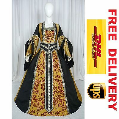 MEDIEVAL RENAISSANCE TUDOR WEDDING HANDFASTING LARP GOWN DRESS COSTUME (20H)
