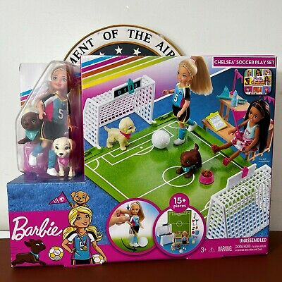 Barbie Dreamhouse Adventures Chelsea Doll And Pups w Soccer 15 Pieces Play Set