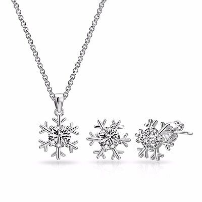 Snowflake Necklace + Earrings Set Crystals from Swarovski® in Festive Pouch