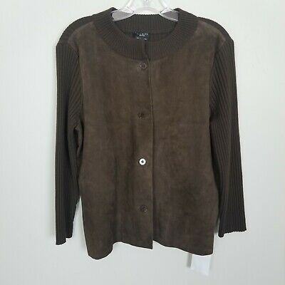 Talbots Brown Suede Leather Pure Italian Merino Sweater Crewneck Jacket Size M  for sale  Shipping to India