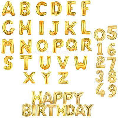 Gold Foil Balloons Baloons Letters Numbers Birthday Wedding Party Banner Decor