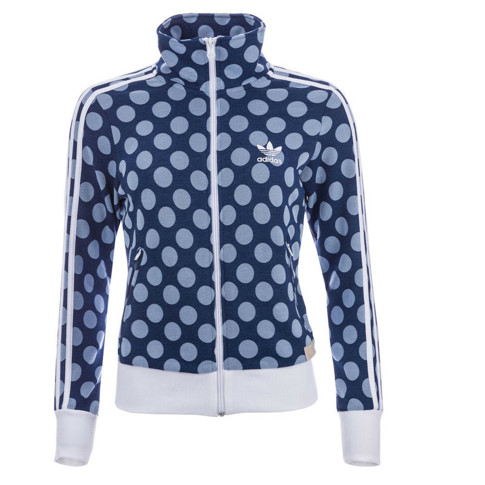9a2c27b9d970 ADIDAS ORIGINALS FIREBIRD TRACK TOP JACKE DAMEN TRAININGSJACKE BLAU WEISS  PUNKTE