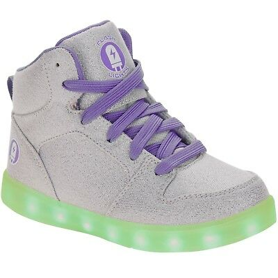 Rechargeable USB Silver Sparkle Color Changing Light Up LED Shoes Kids Size 5