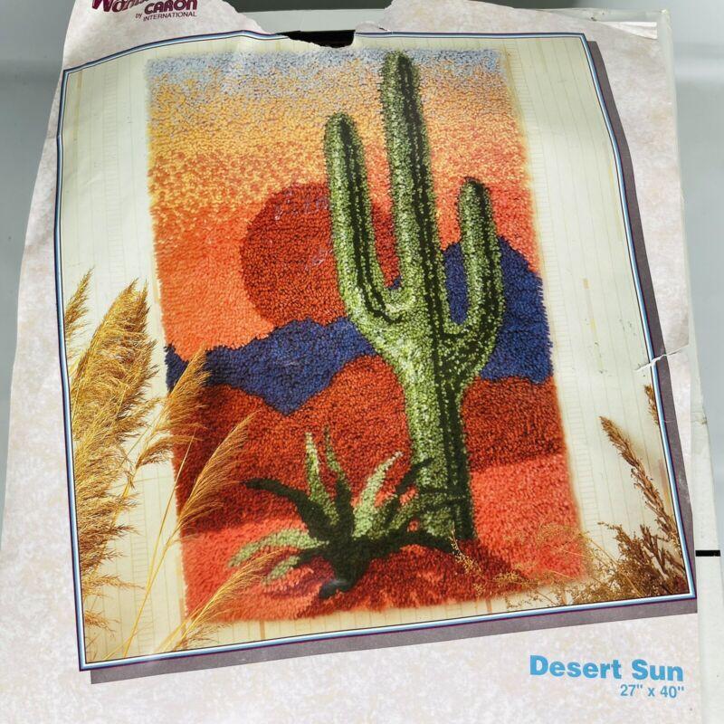 WonderArt Caron Latch Hook Kit Desert Sun Cactus Succulent Plant Rug NEW
