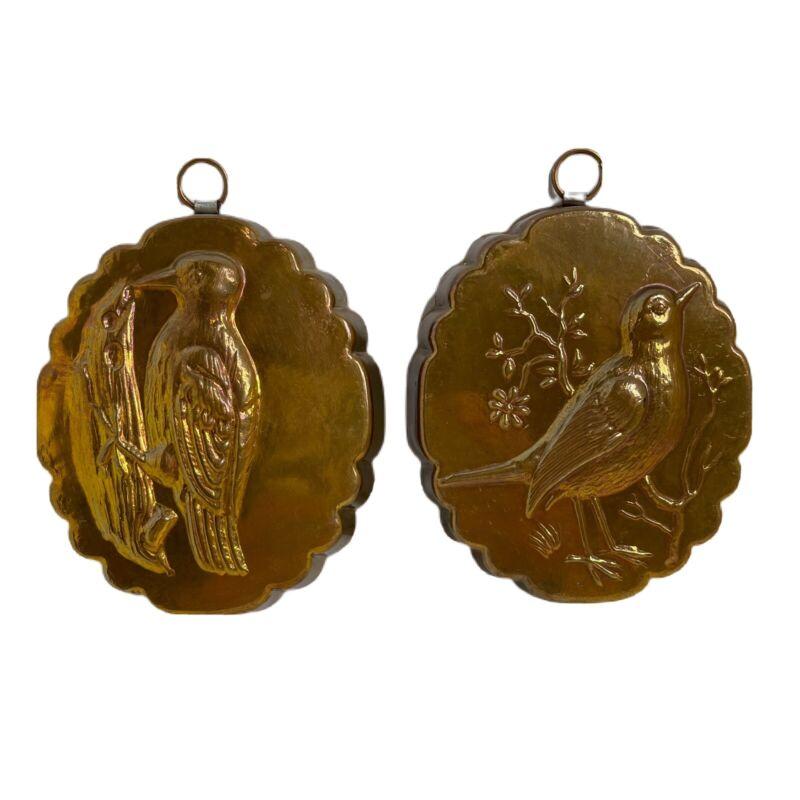 "VTG Bigra Copper Tin Mold Birds Spring Butter Chocolate Switzerland 4"" Set Of 2"