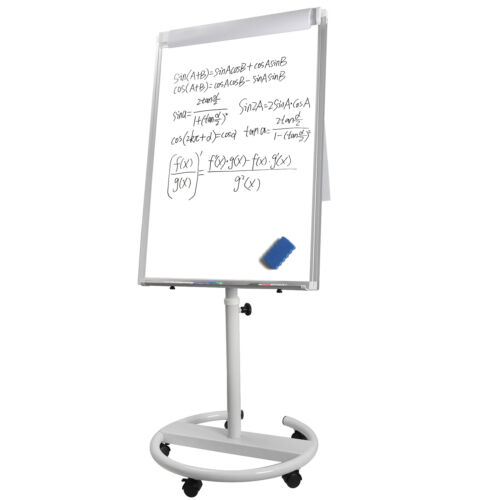 36″x25″ Dry Erase Magnetic Mobile Height Adjustable White Board  For Office Business & Industrial