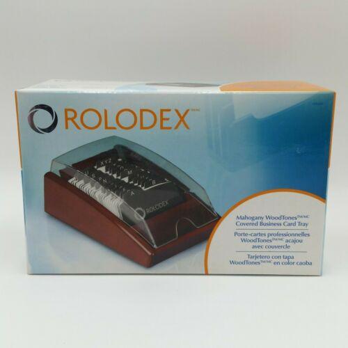 Rolodex Mahogany Woodtones Covered Business Card Tray Mahogany 1734240