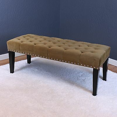 Upholstered Tufted Bench Seat Entryway Furniture Velvet Modern Footstool Ottoman