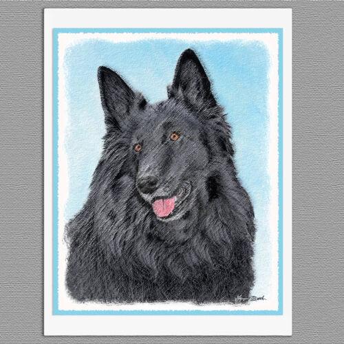 6 Belgian Sheepdog Dog Blank Art Note Greeting Cards