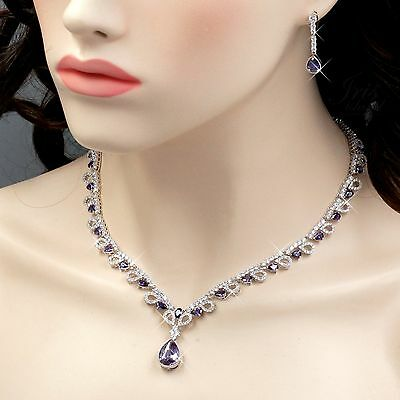 White Gold GP Amethyst Zirconia CZ Necklace Earrings Wedding Jewelry Set -